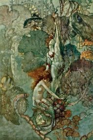 Arthur Rackham little mermaid with statue