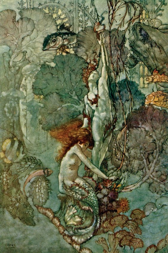 Arthur Rackham little mermaid with statue