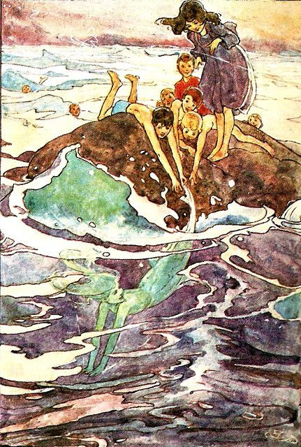 rare mermaid pic from peter pan by alice boling-broke woodward 1907